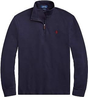 Men Half Zip French Rib Cotton Sweater (XL, RLNavy)