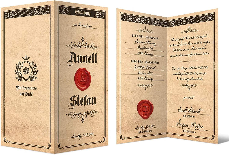 60 x Hochzeitseinladungen Hochzeit Einladungskarten Einladungen Einladungen Einladungen individuell DIN Lang Klappkarte - Siegelbrief B07GKYDH1T | Einfach zu spielen, freies Leben  ada8a8