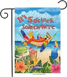 "Briarwood Lane 5 O'clock Parrot Summer Garden Flag Beach Humor 12.5"" x 18"""