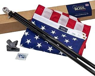 "Elizabeth Ross American Flag Kit, Nylon Perma-NYL, 3' x 5', 100% Made in USA, 6' Steel Pole Black, 1"" 2-Position Flagpole Bracket, Premier US Flag Products Flag"