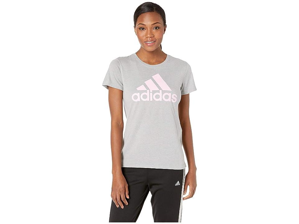 adidas Badge of Sport Classic Tee (Medium Heather Grey/True Pink) Women's T Shirt