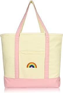 DALIX Cute Rainbow Tote Bag Reusable Grocery Teacher Bags Eco Pride Pink