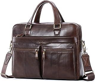 Maletín de piel para hombre/mujer, 14 pulgadas, bolso de negocios, bolso de hombro, bolso de mano