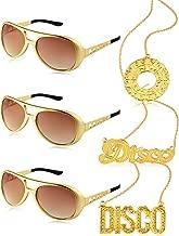 6 Pieces Disco Costume Set 3 Elvis Style Rockstar Sunglass and 3 Disco Necklace Golden