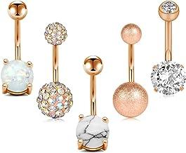 JFORYOU 5 عدد حلقه Button Knob فولاد ضد زنگ برای زنان دختران حلقه Navel 5 سبک 14G سوراخ کردن نایلون Piercing Piercing Jewelry