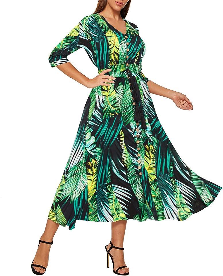 Milumia Women's Button Up V Neck Split Flowy Plain Lady Party Maxi Dress