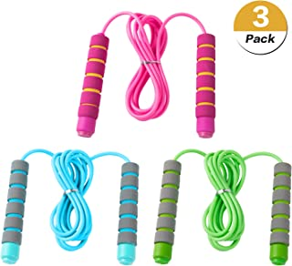 Eeoyu 3 Pack Adjustable Soft Skipping Rope Fitness Skipping Rope with Skin-Friendly Foam Handles for Kids, Students for Outdoor Activity, Party Favor, Exercise Activity