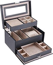 BEWISHOME Girls Jewelry Box Jewelry Organizer with Lock 3 Layers Jewelry Display Storage Case Earring Ring Necklace Holder Organizer Portable Travel Case for Women Girls - Black Faux Leather SSH77B