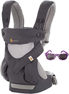 Ergobaby 360 All Carry Positions Baby Carrier w/Cool Air Mesh in Carbon Grey, Bonus Cool Baby Sunglasses