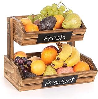 Corbeilles à Fruits en Bambou 2 Niveaux, Organiseur Bol à Fruits, Panier Support à Fruits, Légumes, Pain, Support de Range...
