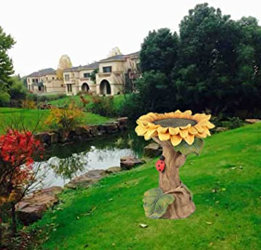 FENQING Mendian Polyresin Sunflower Bird Bath with Brown Pedestal, Handmade Wild Bird Feeder and Birdbath Bowls for Outdoor H