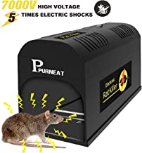 P PURNEAT Electric Rat Mouse, Chipmunk Zapper-Instant and Humane Mice Killer Rodent Trap 【Upgraded Version】– Works Safe and Durable, Black
