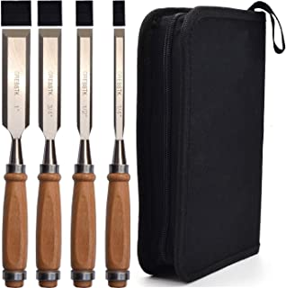 GREBSTK Professional Wood Chisel Tool Sets Sturdy Beech Wood Handles Chrome Vanadium Stainless Steel Woodworking Tools with Storage Bag for Carving Knifes/Chisel Kit, 4PCS, 1/4 inch,1/2 inch,3/4 inch