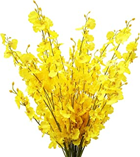 """Artificial Flowers Orchids Silk Fake Flowers in Bulk, 12 Pcs (Each 38.5""""), for Wedding Festive Party Home Office Decoration, Not Include Vase"""