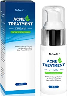 VieBeauti Acne Treatment Cream with Tea Tree Oil - Acne Spot Treatment- Acne Spot Treatment Fighting Breakouts, Spots, Cystic Acne - See Results in Days Without Dry Skin (1oz)