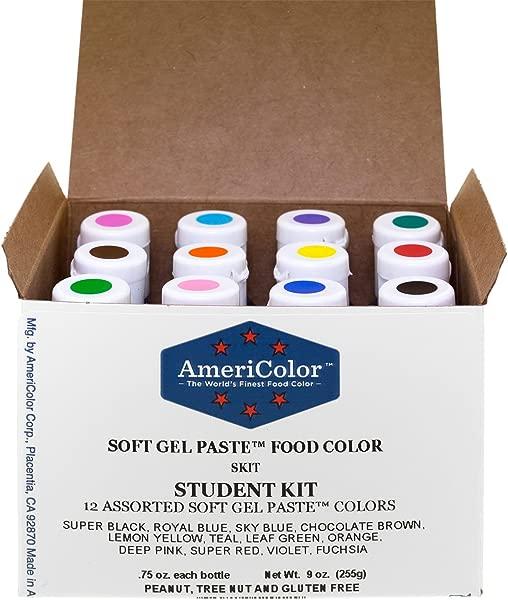 Food Coloring AmeriColor Student Kit 12 75 Ounce Bottles Soft Gel Paste Colors