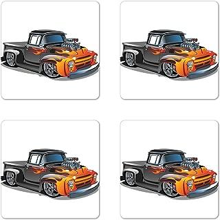 Lunarable Manly Coaster Set of 4, Cartoon Hot-Rod Truck Antique Old Model Automobile Transport Nostalgia Illustration, Square Hardboard Gloss Coasters for Drinks, Orange Black
