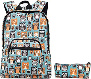 """Cute Owls Backpack with Pencil Pouch Waterproof Laptop Backpacks for Travel 11.8""""L x 4.7""""W x 17""""H Turquoise 2c6-36971af"""