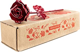Rosa Eterna fatta di Ferro Battuto Rosso - Forgiata a Mano