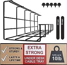 Scandinavian Hub Bandeja Organizadora Cables para Debajo de la Mesa o Escritorio – Organiza sin Nudos los Cables de tu Ordenador – para Hogar u Oficina (Negro - Unidad 40,5cm)