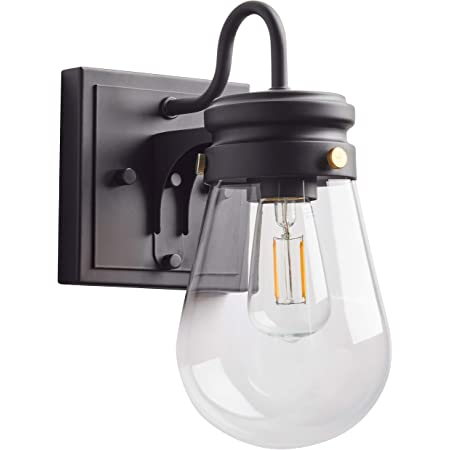 Amazon Brand – Stone & Beam Rustic Farmhouse Indoor Outdoor Glass Shade Wall Sconce Fixture with Light Bulb - 5 x 7.25 x 10.25 Inches, Matte Black