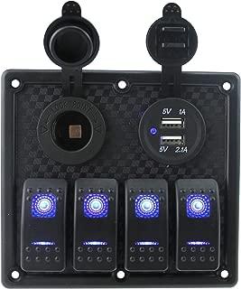 IZTOSS 12V-24V DC 4 Gang Waterproof Marine Blue led Switch Panel with Fuse Dual USB Slot LED Light + Power Socket Breaker for RV Car Boat