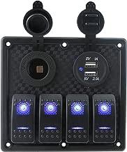 IZTOSS 12V-24V DC 4 Gang Waterproof Marine Blue Led Switch Panel with Power Socket and USB