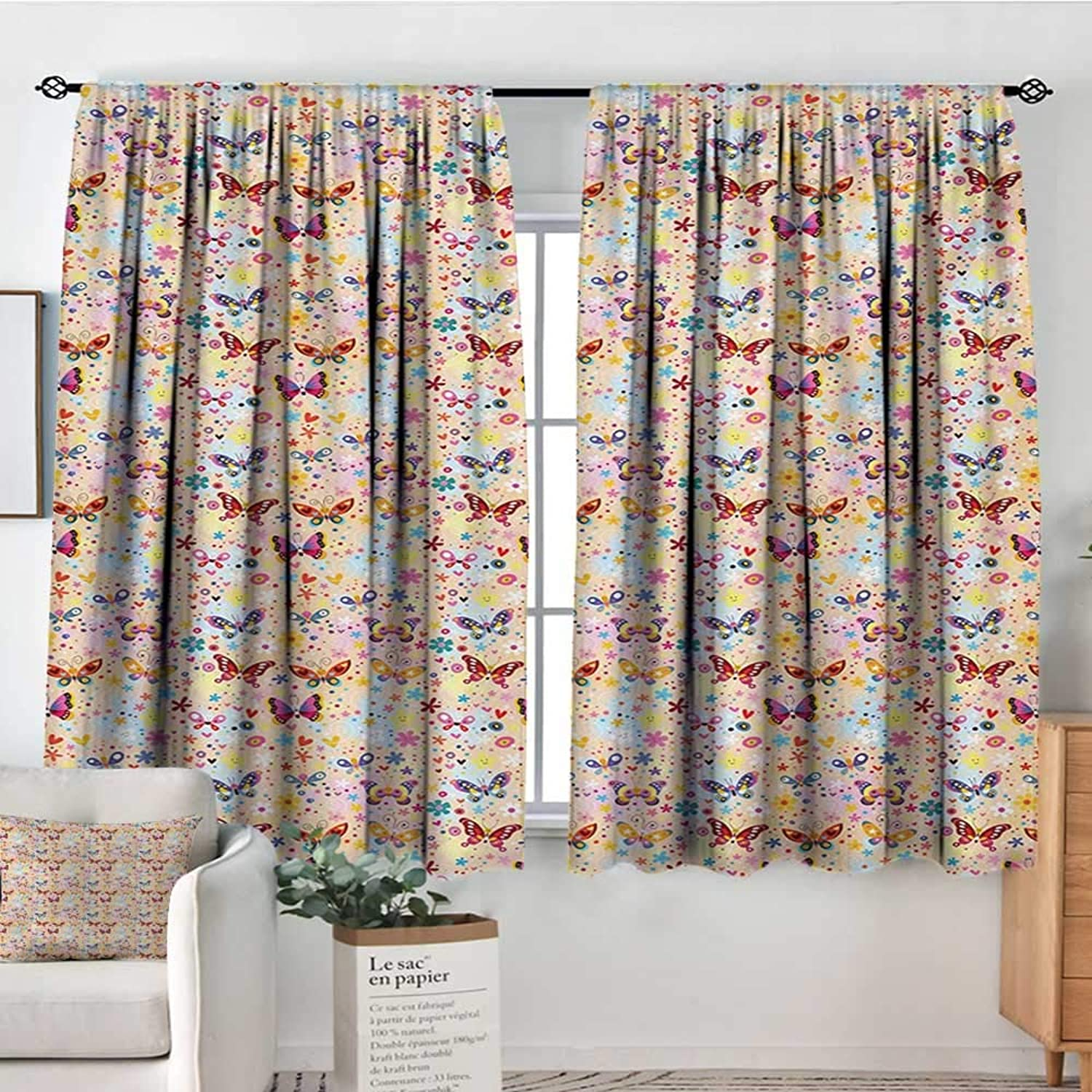 All of better Baby Window Curtain Drape Cute Butterflies Girlish Kids Playroom Flowers Princess Baby Nursery Cartoon Theme Door Curtain Blackout 55  W x 45  L Multicolor