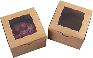 """[24pcs]ONE MORE 4""""Mini Brown Bakery Boxes with PVC Window for Pie and Cookies Boxes Small Natural Craft Paper Box,4x4x2.5inch(Brown,24)"""
