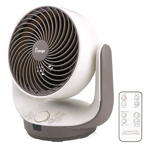 NuoYo サーキュレーター 改良版 静音 首振り扇風機 送風機 上下左右90度調整 8段階風量 コンパクト パワフル 省電力 7色LED付き リモコン 8畳