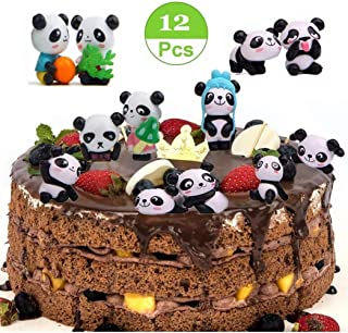 AMEIMALL 12 Pack Cute Panda Cake Toppers, Cute Panda Toys, Minifigurines Playset for Cake Decoration, DIY Fairy Garden Miniature Ornaments Doll, Panda Party Decorations, Miniature Ornaments Kit For DIY Fairy Garden Dollhouse Decoration