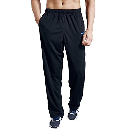 Zengvee Mens Sweatpant with Zipper Pockets Open Bottom Athletic Pants for Jogging, Workout, Gym
