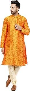 SKAVIJ Kurta Pajama Set for Men Jacquard Silk Indian Party Wear Dress