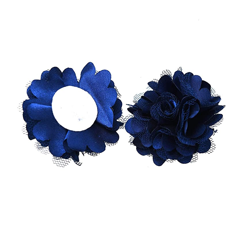 Monrocco 20 Pack Navy Blue Lace Chiffon Peony Fabric Flowers Applique Craft Flowers Embellishments for Crafts Headband Clothes