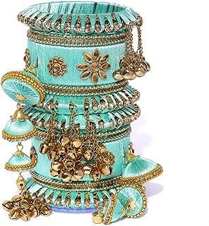 sky blue silk thread bangles