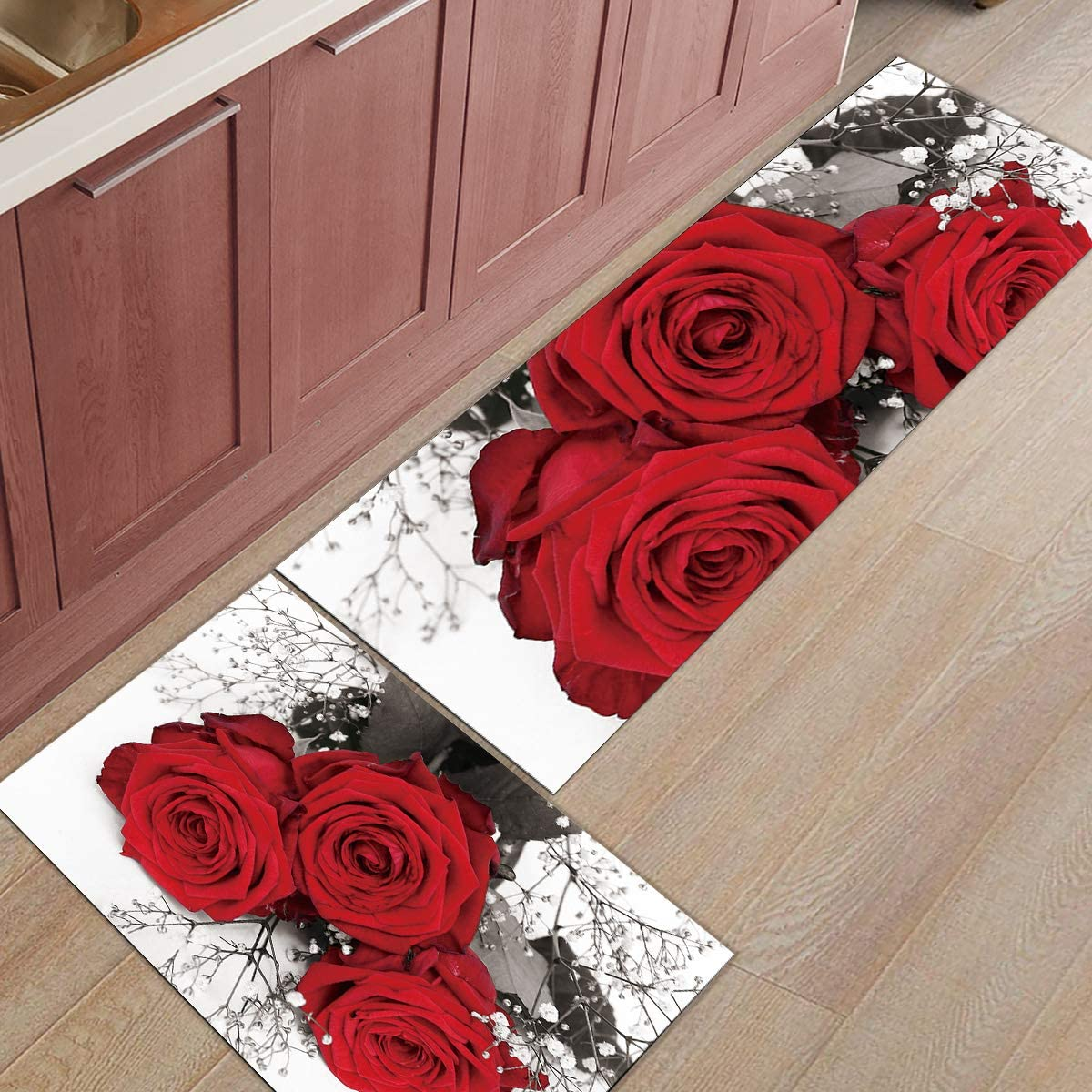 Max 55% OFF Fantasy Staring 2 Piece Kitchen famous Rug Romantic Red Set- Rose Dark