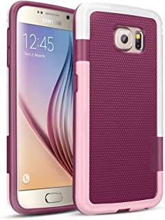 Galaxy S6 Case, TILL(TM) 3 Color Hybrid Dual Layer Shockproof Case [Extra Front Raised Lip] Soft TPU & Hard PC Bumper Protective Case Cover for Samsung Galaxy S6 S VI G9200 GS6(White, Pink & Red)