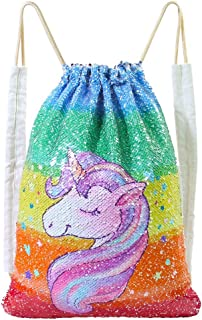 MHJY Unicorn Bag Reversible Sequin Drawstring Bag Sparkly Gym Dance Backpack