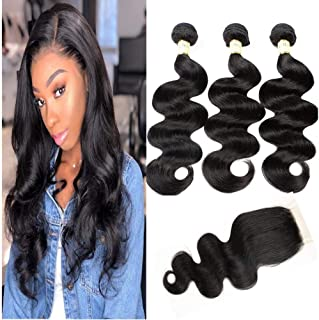 Goldfinch Body Wave 10A Human Hair Bundles with Lace Closure Brazilian Virgin Hair Body Wave with Closure Free Part Sew In Hair Extensions 12
