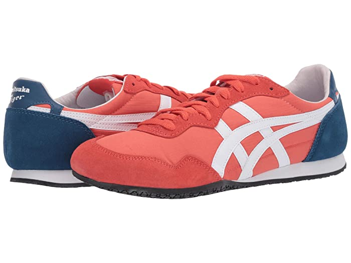 Retro Sneakers, Vintage Tennis Shoes Onitsuka Tiger Serranotm Red SnapperWhite Classic Shoes $72.99 AT vintagedancer.com
