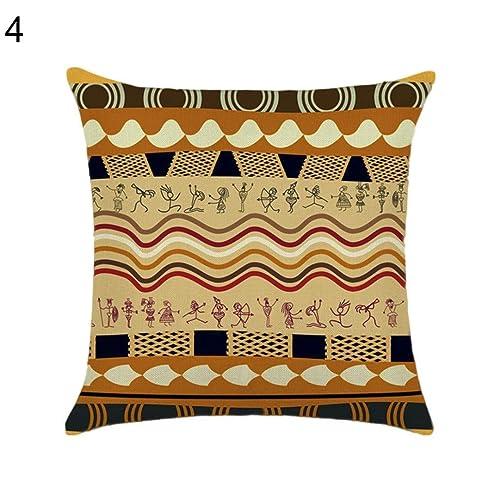 Quanjucheer African Totem Zipper Close Throw Cushion Pillow Case Cover Sofa Decor Maximum Softness Size Brown