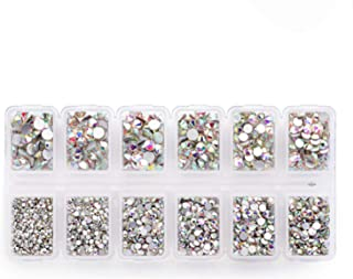 Zealer 1800pcs Crystals AB Nail Art Rhinestones Round Beads Top Grade Flatback Glass Charms Gems Stones for Nails Decoration Crafts Eye Makeup Clothes Shoes 300pcs Each (Mix SS3 6 10 12 16 20)