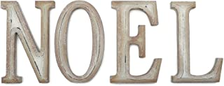 Sterling Antique Weathered Wood Noel Sign, Decorative Wooden Block Word Signs, Freestanding Wooden Letters, Rustic Holiday Signs for Home Decor, 18 x 10 Inch, Ivory Glitter