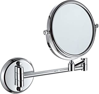 KAIIY Wall Mounted Makeup Mirror - 5x Magnification 6'' Two-Sided Swivel Extendable Bathroom Cosmetic Mirror Chrome Finish
