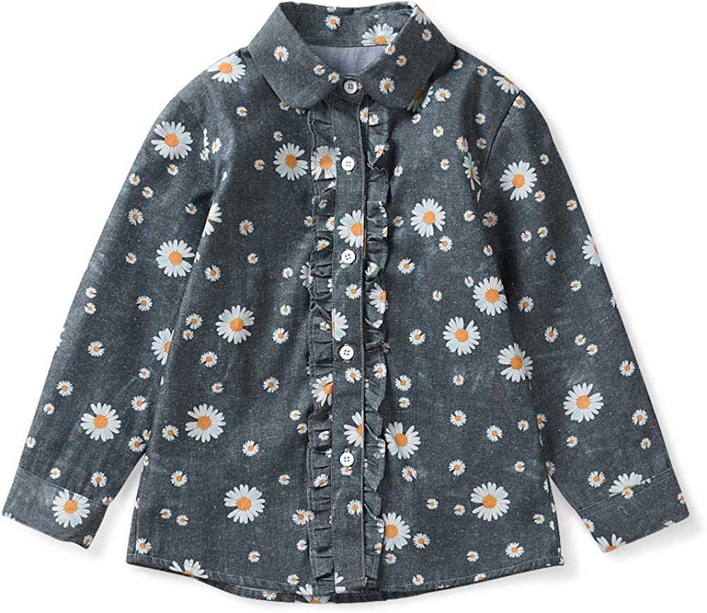 Girls Blouse Ruffle Long Sleeve Button Down Shirts Cotton Loose Soft Tops 3-13Y