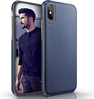 LOHASIC Luxury Leather Case for iPhone Xs Max, Ultra Slim Soft Flexible Bumper Non-Slip Defender Grip Anti-Scratch Shockproof Protective Cover Cases Compatible with Apple iPhone XS Max 6.5 inch - Blue
