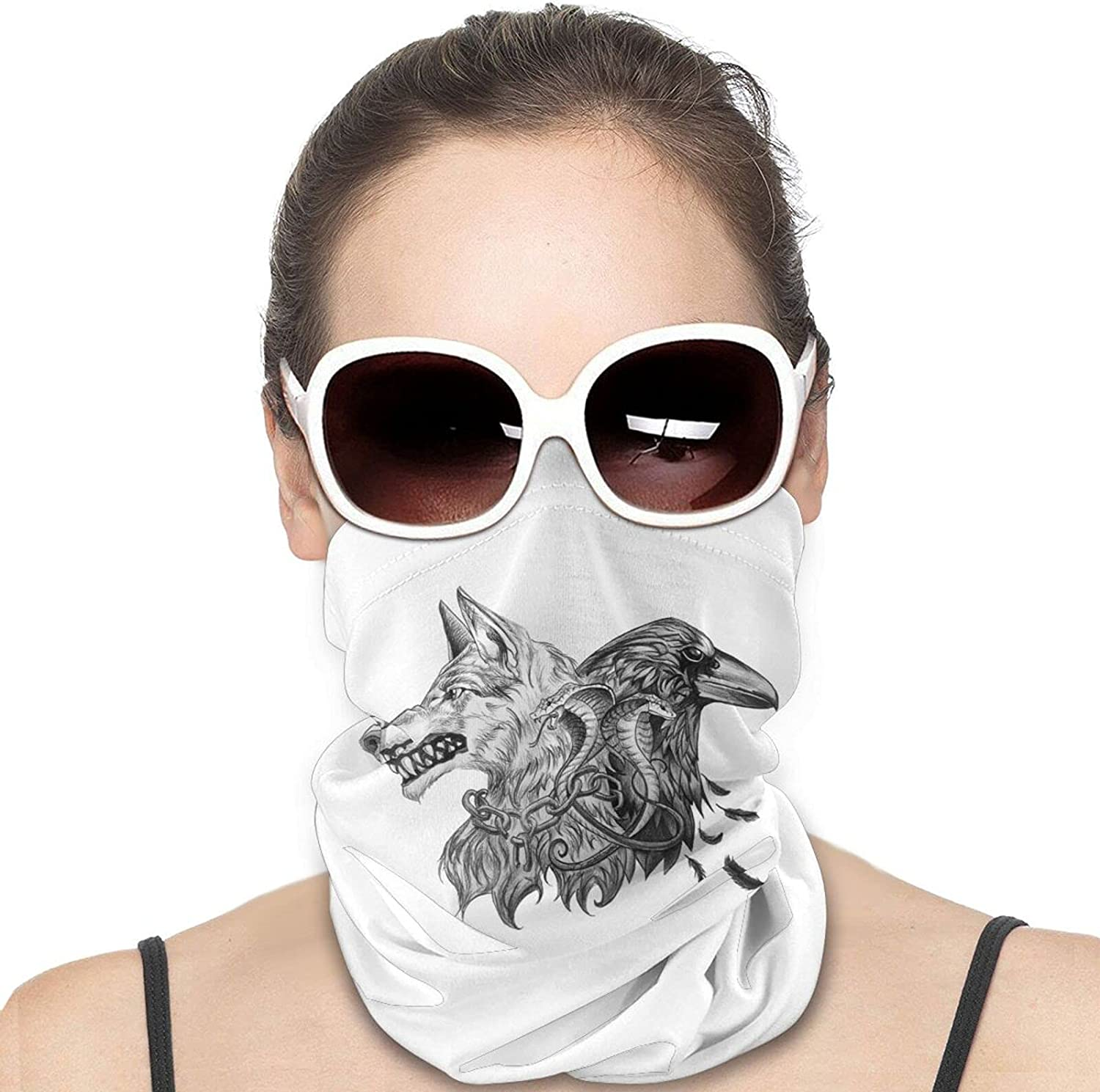 Wolf Rune Round Neck Gaiter Bandnas Face Cover Uv Protection Prevent bask in Ice Scarf Headbands Perfect for Motorcycle Cycling Running Festival Raves Outdoors