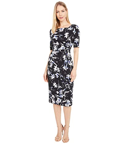 Tahari by ASL Square Neck Scuba Crepe Printed Dress (Black Iris Floral) Women