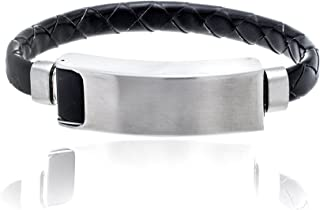 STEEL EVOLUTION Stainless Steel Black Leather and Matte ID Bar Bracelet for Men with USB Port for iOS