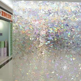 Leyden 24-by-72-Inch Cut Glass Geometric No-Glue 3D Static Decorative Glass Window Films